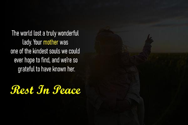 Condolence Sms In English for Mother